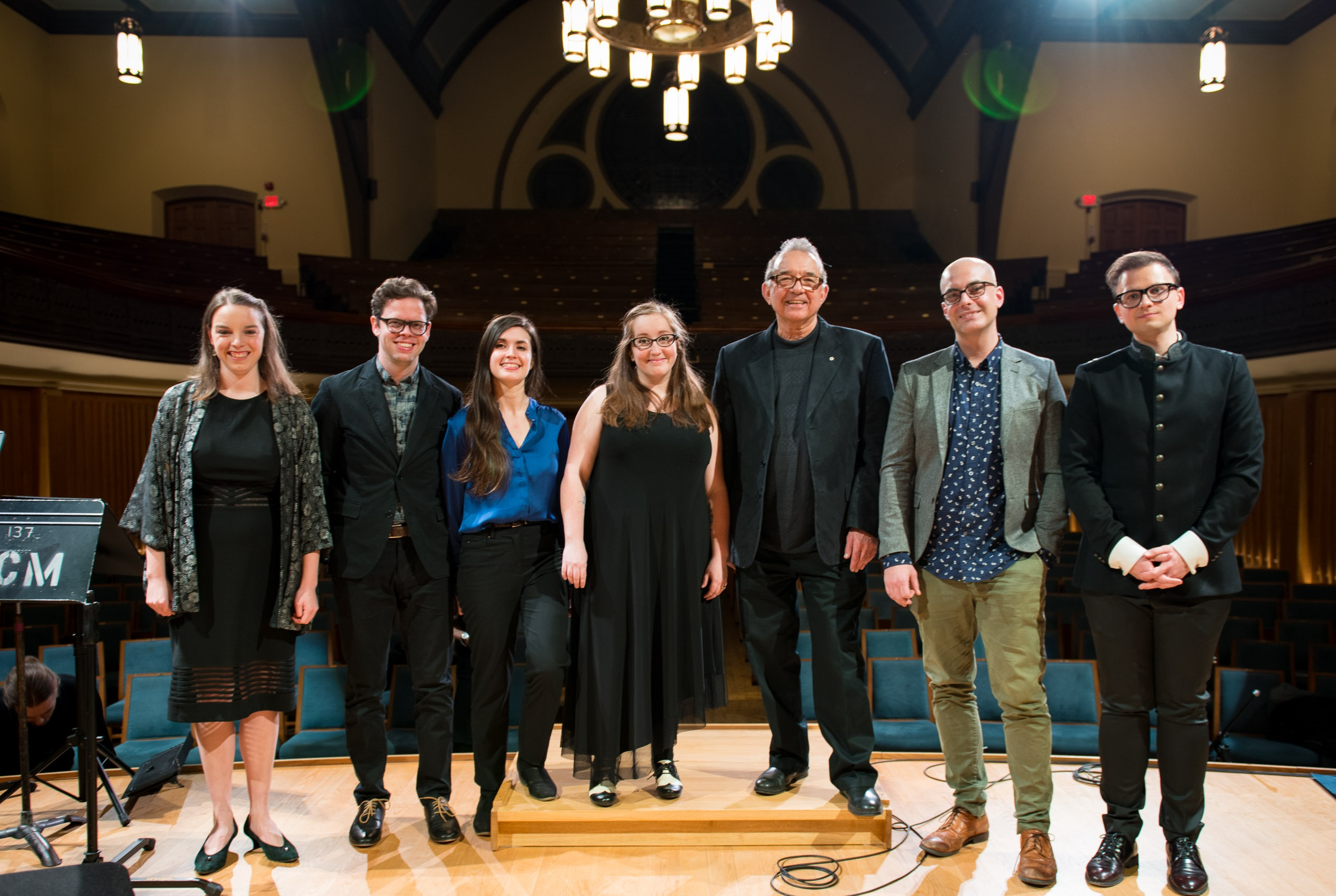 (L to R) Soprano Rebecca Gray; composers Chris Thornborrow, Christina Volpini, & Bekah Simms; Esprit Orchestra conductor Alex Pauk; composer Adam Scime; composer and conductor Eugene Astapov. Photo by Kevin Lloyd.